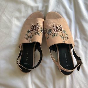 ASOS New Look Embroidered pink sandals